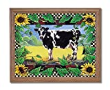 Country Cow Sunflower Folk Home Decor Wall Picture Oak Framed Art Print