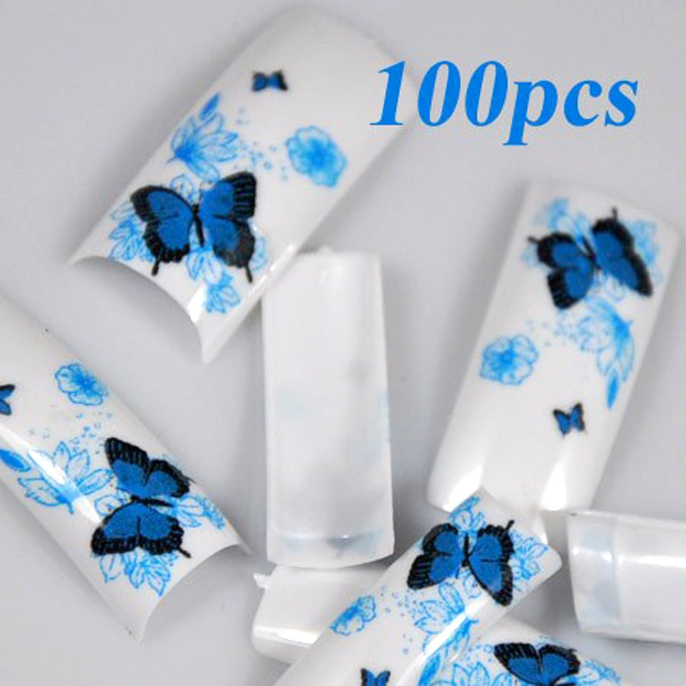 350BUY 100 Spring Butterfly Style Acrylic False French Nail Tips