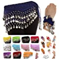 Silver Coins Belly Dance Wrap Hip Scarf Belt Wrist Arm Cuff Costume
