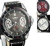 【バックスケルトン/選べる3色】機械式 カレンダー 付き メンズ 腕時計 レザー ビッグフェイス スチームパンク ステンレス アンティーク (B ブラック)