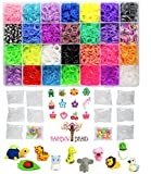 9100pc Original Rainbow Braid Premium Loom Bands MEGA Refill Kit with Case - 28 Vibrant Colors - Best for Rubber Bracelet Making Kits - 8500 Rubber Bands, 500 Clips, 100 Beads & 24 Charms w/Organizer