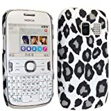 FOR NOKIA ASHA 302 BLACK AND WHITE LEOPARD PRINT HARD BACK PROTECTION CASE COVER