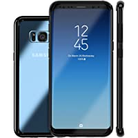 Lohasic Clear Hybrid Hard Back and Slim Excellent Grip Flexible Bumper Shockproof Full Body Protection Cover for Galaxy S8 Plus (Black)