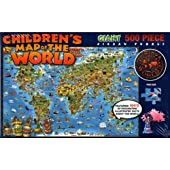 Children's Map of the World - Giant 500 Piece Jigsaw Puzzle by Round World
