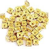 SODIAL(R) 50 Gold Square Rhinestone Roundel Bead Jewelry Spacer HOT