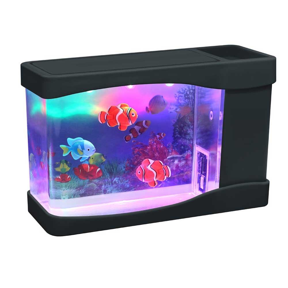 Mini Small Pet Fish Aquarium Tank House Starter Kit Led
