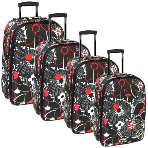 Karabar Set of 4 Lightweight Suitcases (Black Multi)