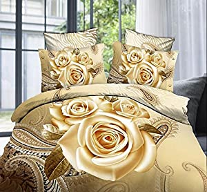 Golden Roses 100% Cotton Queen Size 3d Print Bedding Set (1 Duvet Cover + 1 Bed Sheet + 2 * Pillow Case)