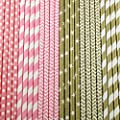 150 Pink and Gold Paper Straw Combo, 6 Designs - 100% Biodegradable - 7.75 Inches - Baby Shower, Wedding, Anniversary, Birthday Party Supply - 150 Straws, 6 Patterns Individually Packed