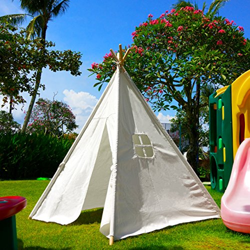 Home ... & White Canvas Play Teepee tent for kids 100% Cotton By Tiny Land ...