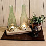 EarthenMetal Handcrafted Glass And Wood Dual Candle Light Holder