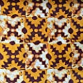 African Fabric Cotton Wax Print checkered orange 44'' wide sold By The Yard