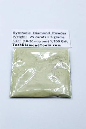 TechDiamondTools Diamond Powder 1,200 Grit 10-20 Microns - 25cts. = 5 Grams (Color: 25 carats-5 grams, Tamaño: 1,200 grit / 10 - 20 microns)