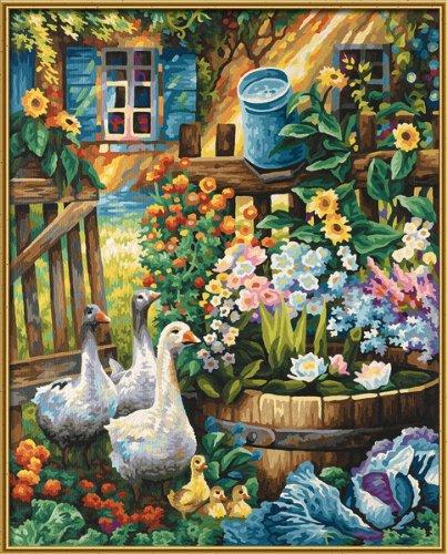 Schipper 609130662 - Malen nach Zahlen, Gänse im Garten, 40 x 50 cm hergestellt von Noris