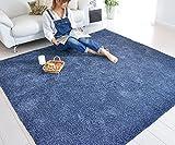 なかね家具 洗える シャギーラグ ホットカーペット対応 ウォッシャブル対応 軽量 長方形 ラグマット 200x250 ブルー 588aberu