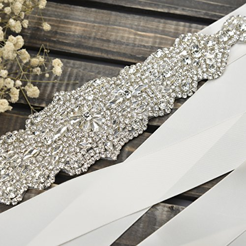 Remedios Bridal Sash Belt 338cm Rhinestone for Party Prom Evening Dresses,ivory