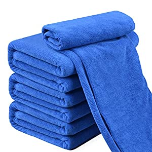 Zeltauto Quick Dry Microfiber Towels Cleaning Cloth, Anti-Scratch Car Detailing Care Towels Blue