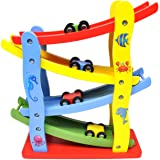 GYBBER&MUMU Toddler Wooden Car Toys for 1 2 3 Year Old, 4 Mini Cars Wooden Race Track Car Ramp Racer Game for Boy and Girl Gifts (Color: Ramp Track 4 Car)