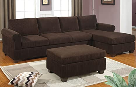 Charming 3-pcs sectional sofa reversable modern style By Poundex