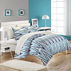 Selina White & Blue Duvet Cover Bed In A Bag Set with Sheet Set