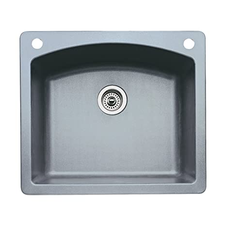 Blanco 440209-2 Diamond 2-Hole Single-Basin Drop-In or Undermount Granite Kitchen Sink, Metallic Grey