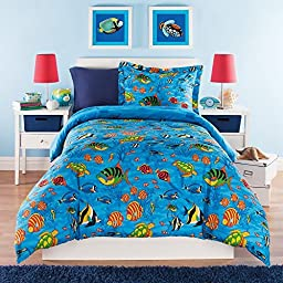 2 Piece Kids Twin Comforter Set Aquarium Themed, Full of Sea Life and Under the Water Creatures, Colored Tropical Fish, Sea Turtles Coral Plants Starfish Sea Horses, Ocean Blue Bedding, Unisex