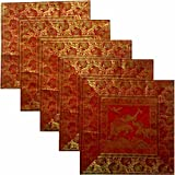 Kriti Creations Set Of 5 Royal Elephant Cushion Covers (16*16 IN)
