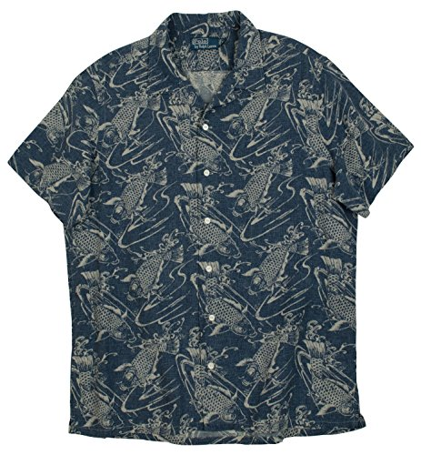 Ralph Lauren Men'S Fish-Print Short- Sleeve Lee Camp Shirt (Medium, Koi)
