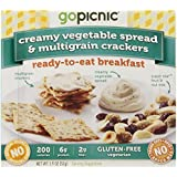 GoPicnic Ready-to-Eat Breakfasts, Creamy Vegetable Spread and Multigrain Crackers, (pack of 6)