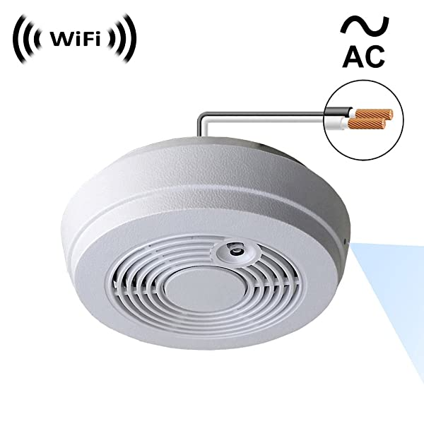 WF-402HAC Sony 1080p IMX323 Chip Super Low Light Spy Camera with WiFi Digital IP Signal, Recording & Remote Internet Access, Camera Hidden in a Fake Smoke Detector (120VAC, Side-Down View) (Color: WF-402HAC)
