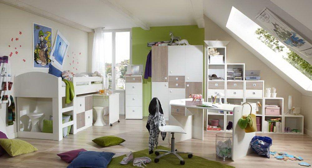 Jugendzimmer 2-t.g in Alpinweiß mit Abs. in Eiche sägerau-Nachbildung 3-trg. Kleiderschrank B. 135 cm, Hochbett mit Schreibtisch und Kommode B: 204 cm kaufen