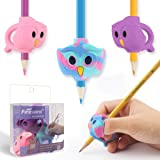 Pencil Grips, Firesara Original Owl Pencil Grips for Kids Handwriting Ergonomic 3 Fingers Sets Aid for Trainer Handwriting Posture Correction,Assorted Pencil Grip for Righties and Lefties (3pcs) (Color: Multicolored-a)