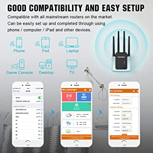 WiFi Extender | 1200Mbps WiFi Booster Signal Amplifier | 2.4&5GHz Dual Band WiFi Repeater Range Extender, 4 WiFi Antenna 360° Full Coverage Network | Compatible with Alexa/Extends WiFi to Smart Home (Color: Black, Tamaño: Small)