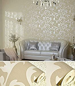 Luxury non woven fabric bedroom living room wall sticker for Wallpaper for bedroom amazon