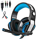 Mengshen 3.5mm Stereo Gaming Headset - with Microphone and LED Light for PC, PS4 and Xbox one - Designed for Computer Gamer, GM2 Blue (Color: Blue)