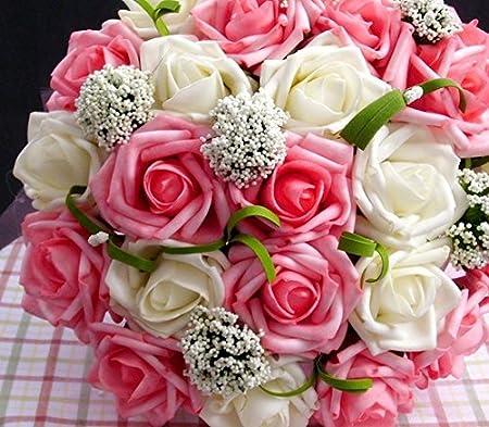 Capli カプリ ウェディング ブーケ 造花 花束 バラ ホワイト ピンク 腕花 セット