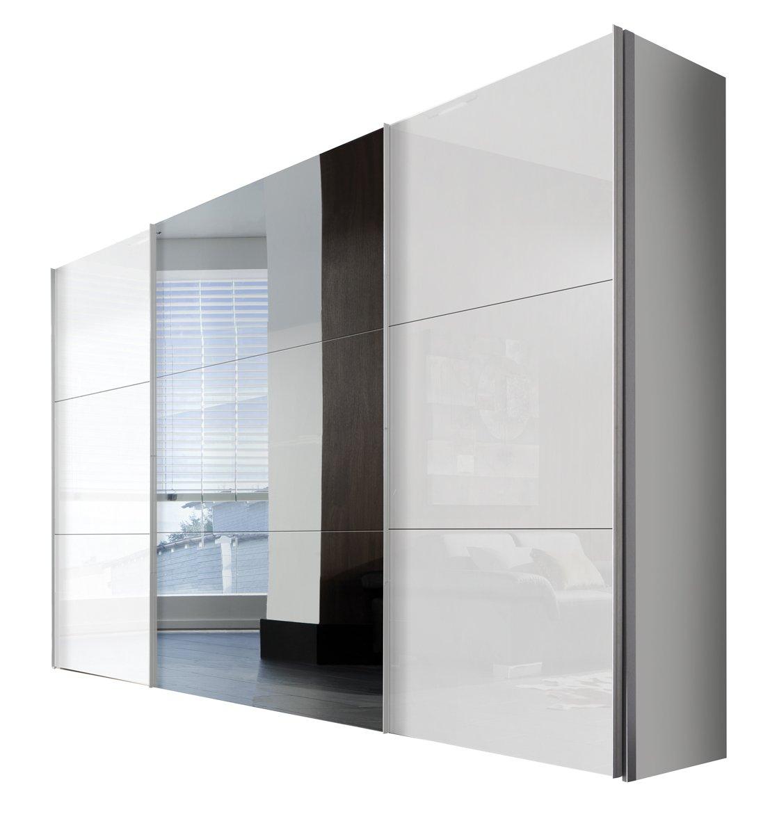 Solutions 46350-203 Schwebetürenschrank 3-türig, Griffleisten Alufarben, Korpus Polarweiß / Front Lack weiß und Spiegel