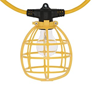 Construction String Lights 50ft Male Female End (Color: Yellow, Black)