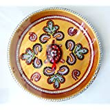 Handicraft Handmade Pooja Thali Aarti Thali Traditional Round Thali With Tortoise Turtle - Diwali Decorative Spiritual...