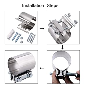 2.5 Butt Joint Band Clamp Exhaust Sleeve Stainless Steel 2 Pieces
