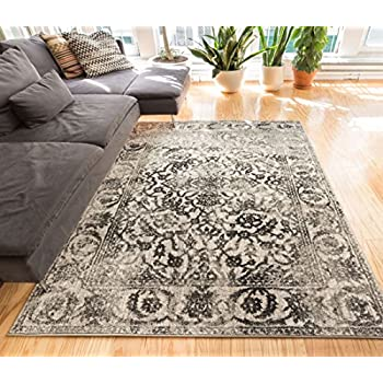 "Yorkshire Blue Sarouk Vintage Modern Casual Traditional 5x7 ( 5'3"" x 7'3"" ) Area Rug Thick Soft Plush Shed Free"
