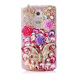 LG G4 Bling Case - Fairy Art Luxury 3D Sparkle Series Crown Rose Flowers Butterfly Bowknot Pendant Snow Crystal Design Back Cover with Soft Wallet Purse Red Cloth Pouch - Pink