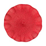 LinenTablecloth Round Ruffled Placemats (2 Pack), Red