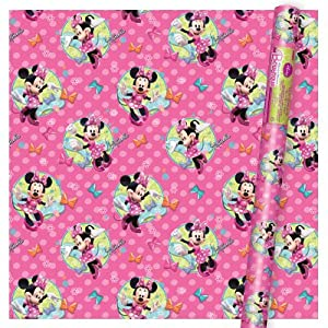 minnie mouse wrapping paper Disney's original sweethearts celebrate a special occasion on this blue wrapping paper perfect for birthdays, weddings or any occasion 25 square feet.