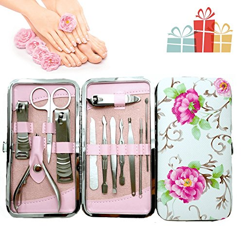 Gifts for her, women, birthday gifts, Simply Loft New Improved Surgical Strength Tools, Beautiful 12pcs Stainless Steel Manicure Pedicure Set with Beautiful Rose Leather Case (Rose)