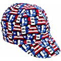 "Mutual Industries 00210-00000-7875 Kromer Red White Blue USA Style Cap, Cotton, Length 5"", Width 6"""