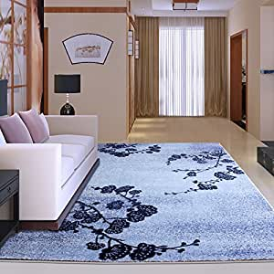 Ustide blue modern floral area rug living room for Living room rugs amazon