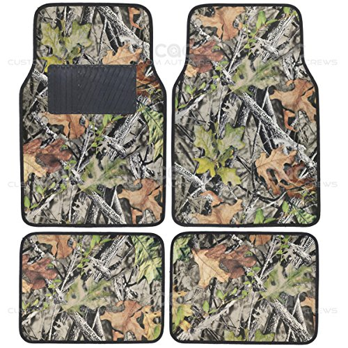 Camo Mats for Car SUV Truck - 4 PC Car Floor Mat Camouflage Rubber Backing Oak (4 Pc Car Mats compare prices)