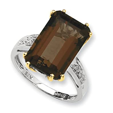 Sterling Silver and 14ct Whiskey Citrine and Rough Diamond Ring - Measures 2x10mm - Size P 1/2
