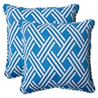Pillow Perfect Indoor/Outdoor Carib Corded Throw Pillow, 18.5-Inch, Blue, Set of 2 by Pillow Perfect